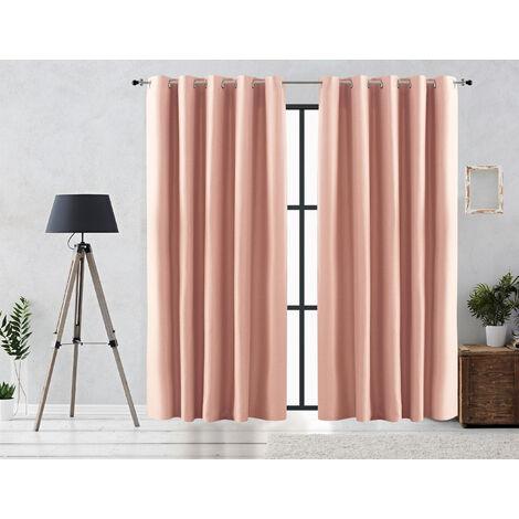Vipalia Cortina Rustica Oscurante Lisa Anillas 140x255 cm Rosa