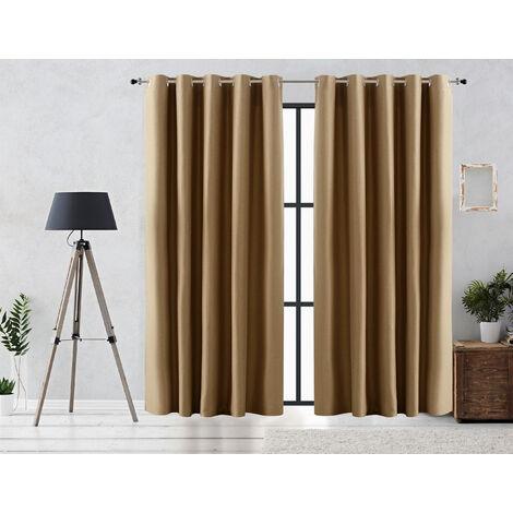 Vipalia Cortina Rustica Oscurante Lisa Anillas 140x255 cm Verde