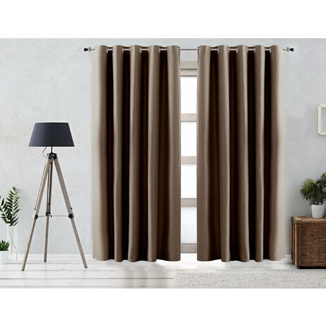 Vipalia Cortina Rustica Oscurante Lisa Anillas 200x255 cm Marron