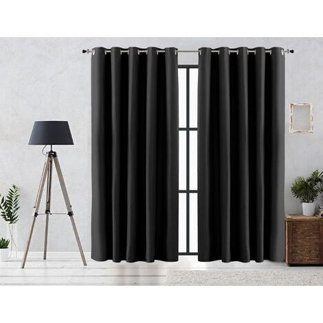 Vipalia Cortina Rustica Oscurante Lisa Anillas 300x255 cm Negro