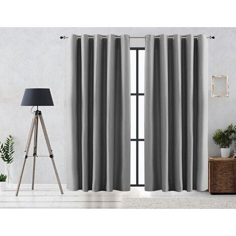 Vipalia Cortina Rustica Oscurante Lisa Anillas 300x255 cm Plata
