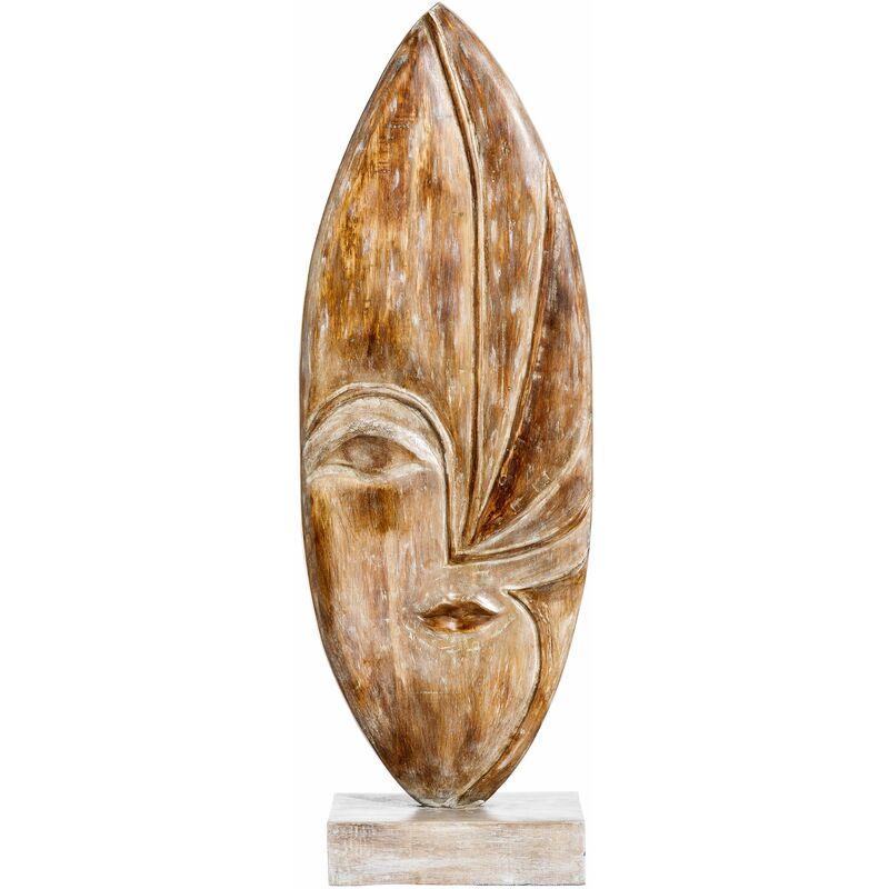 Vipalia Figura Escultura Abstracta Espirales Tallada. Madera de Albasia Rozada Envejecida Lacada Rustica.30 x 15 x 88 cm. Calidad Diseño Arte y