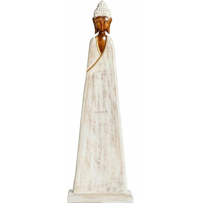 Vipalia Figura Escultura de Busto Budista. Madera de Albasia Rozada Envejecida Rustica. 105x 33,5 x16,6 cm. Color Blanco y Natural. Arte Estilo
