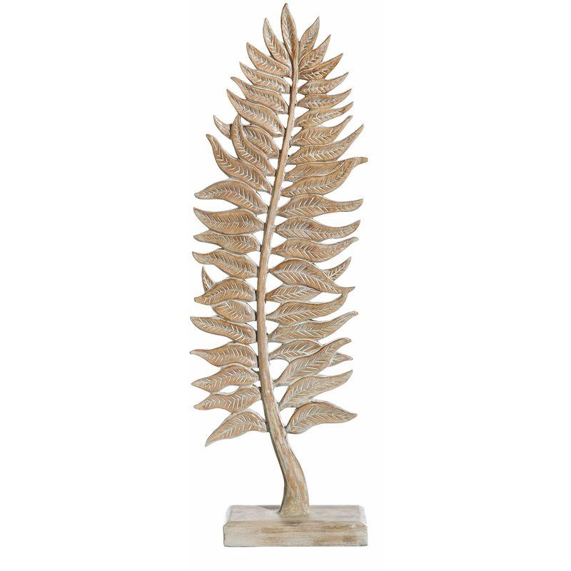 Vipalia Figura Escultura de Hoja Tallada. Madera de Albasia Rozada Envejecida Rustica. Tamaño 29 x 15 x 84 cm. Calidad Diseño Arte y Estilo.