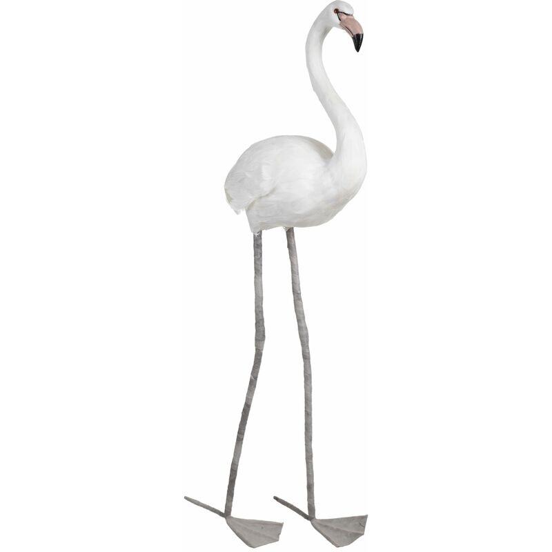 Vipalia Figura Flamenco Grande con Plumas Naturales. Foam. Decoracion Modernista. Calidad Diseño Estilo Elegante Tendencia. Ref.154252. Color Blanco.