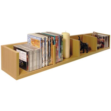 VIRGIL - 108 CD / 72 DVD / Blu-ray / Video Media Wall Storage Shelf - Beech