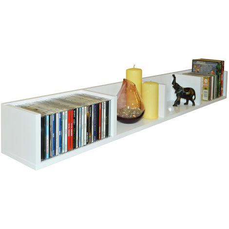 VIRGIL - Gloss 112 CD / 72 DVD / Blu-ray / Media Wall Storage Shelf - White