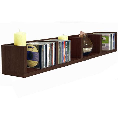 VIRGO - 84 CD / 56 DVD / Blu-ray / Video Media Wall Storage Shelf - Dark Oak