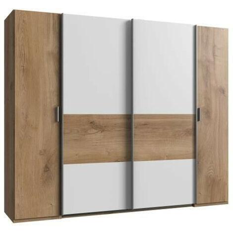 VIRGO Armoire de chambre - Décor chene et blanc - L 225 cm