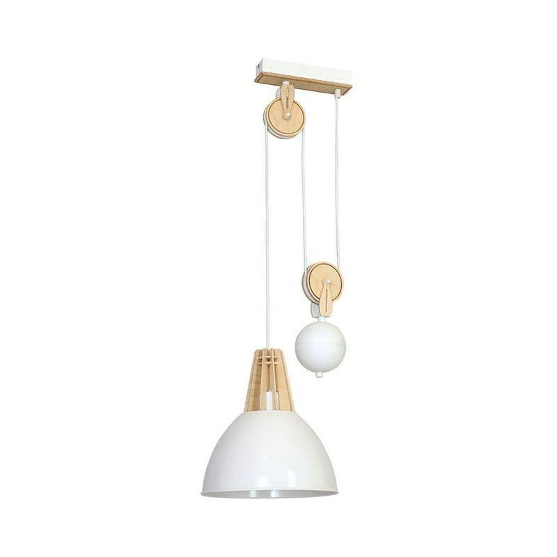 Homemania - Virgo Haengelampe - Kronleuchter - Deckenkronleuchter - Weiss aus Metall, Holz, 30 x 26 x 90 cm, 1 x E27, 60W