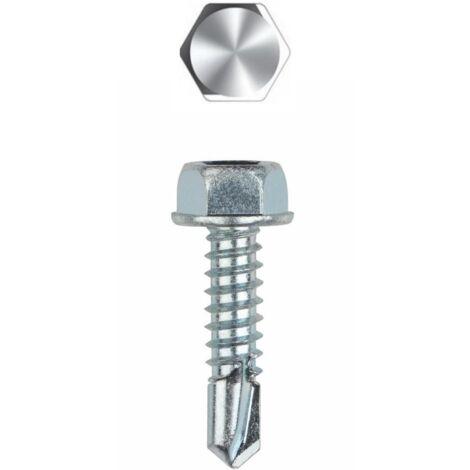 Vis autoperceuse acier zingué - Tête hexagonale avec collerette estampée 4,2x16 - Boite de 1000