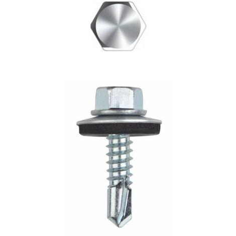 Vis autoperceuse avec rondelle vulcanisée Acier/EPDM - Tête hexagonale avec collerette estampée