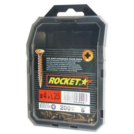 Vis Bois et agglo anti-fendage 4 X 25 tête fraisée empreinte pozi filetage total - Rocket