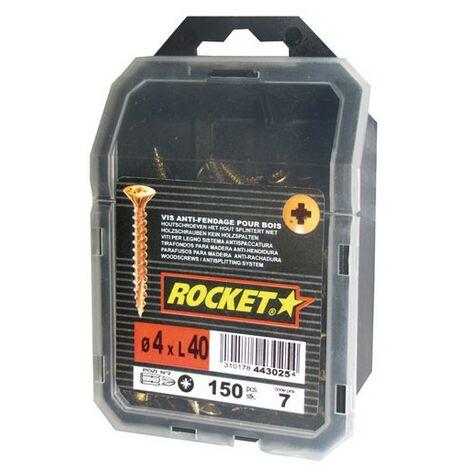 Vis Bois et agglo anti-fendage 4 X 40 tête fraisée empreinte pozi filetage total - Rocket