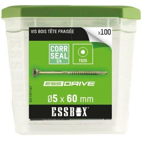Vis bois tête fraisée acier zingué 5x60mm Essbox