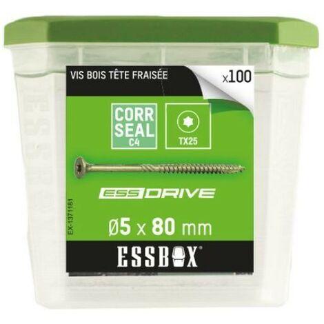 Vis bois tête fraisée acier zingué 5x80mm Essbox
