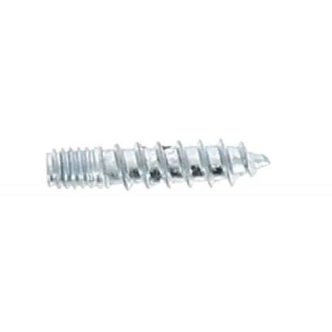 Vis dassemblage sans tête double filet métaux/bois en acier zingué blanc, diamètre 6 mm, longueur 60 mm, sachet de 25 vis