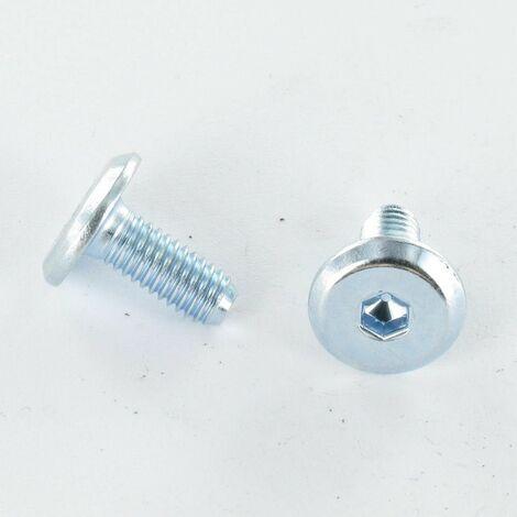VIS METAUX TETE PLATE HEXAGONAL CREUX M8X20 Diametre de tete: 19 EPAISSEUR 3 CLASSE 8.8 ACIER ZING BLANC