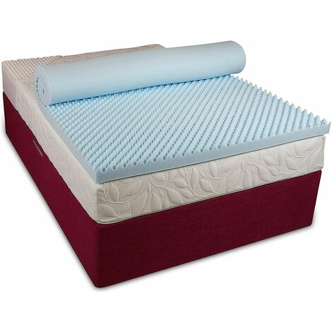 Visco Therapy 3.5cm Egg Profiled Topper with CoolBlue Memory Foam - With Cover, 6FT SUPER KING