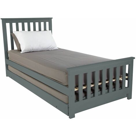 Visco Therapy Oxford 3FT Wooden Bed Frame with Pullout Trundle Guest Bed, Mattresses Are Available - Grey Frame with 2x F10 Mattress