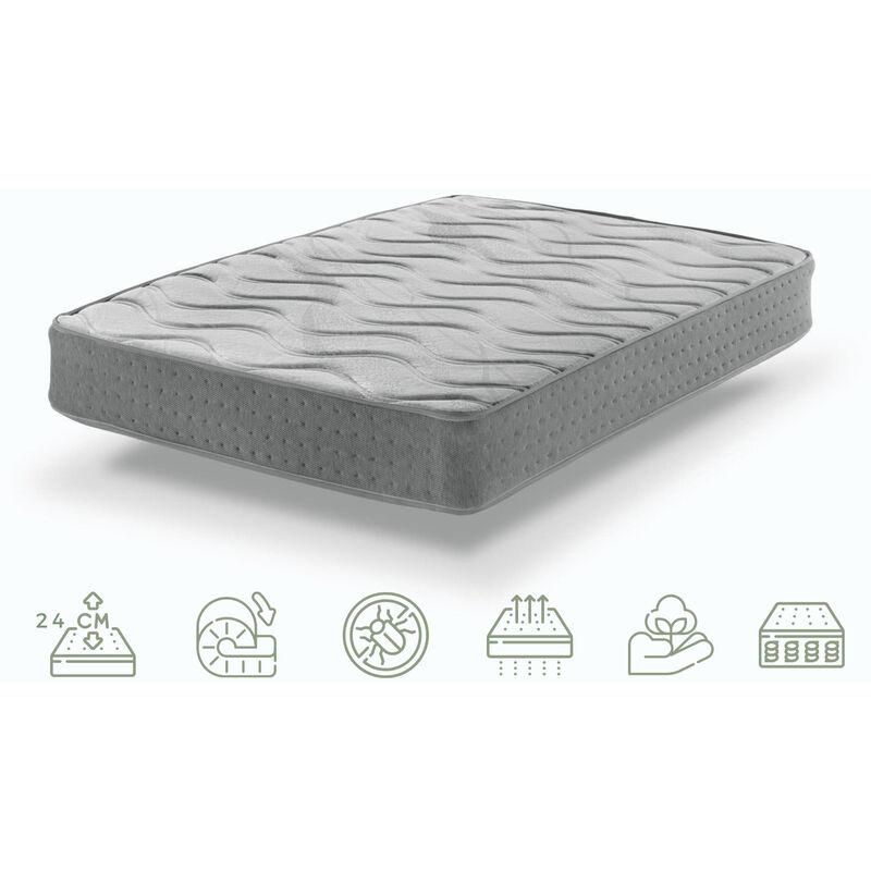Bezen - ViscoGel-Graphen Plus Matratze mit Techno System Taschenfedern 150X190 Relax Effekt 24 cm hoch   Sanitized® und Oeko-Tex®zertifiziert.