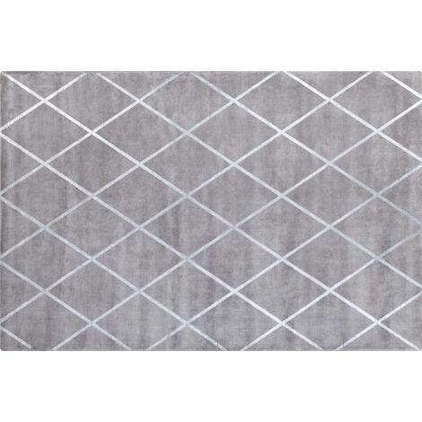 Viscose Area Rug 140 x 200 cm Light Grey ATIKE