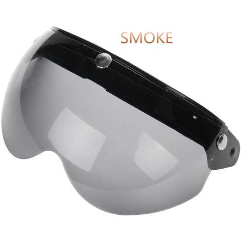 Visière de pare-brise Casque de moto de style pilote Pare-vent à 3 boutons-pression (fumée)
