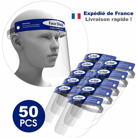 Visiere de Protection Transparente antiprojection 32x22 cm - Lot de 50 Visières Lavables et Reutilisables - Visiere de protection visage avec bande elastique et film de protection