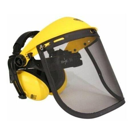 Visiere grille + protege-oreilles pour Fendeur de buches, Compresseur, Elagueur, Coupe bordures, Scie electrique, Debroussailleuse, Outils speciaux, G