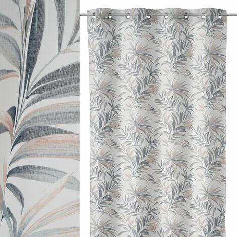 Visillo hojas de palmera blanco y gris de poliéster de 140x260 cm
