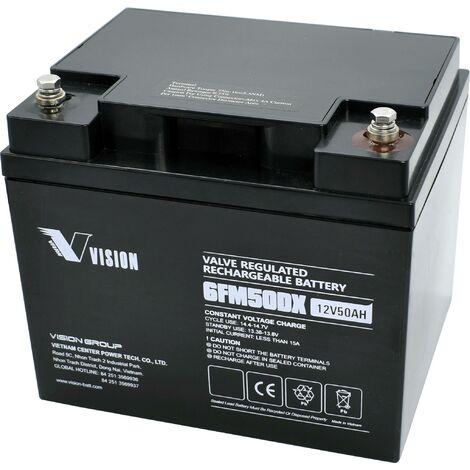Vision Akkus FM-Serie 6FM50DXS Accumulateur solaire 12 V 50 Ah plomb (AGM) (l x H x P) 197 x 170 x 165 mm raccord à vis M6 Y758281