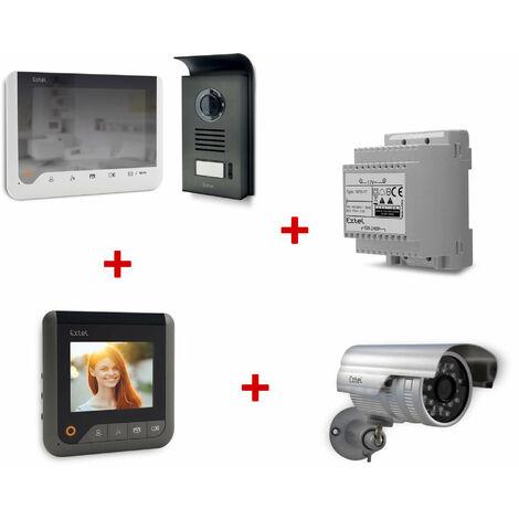 Visiophone 2 fils 7 pouces à mémoire de passage et à effet miroir - Blanc - Extel - Visiophone Extel Ice + 1 Caméra + 1 Rail Din