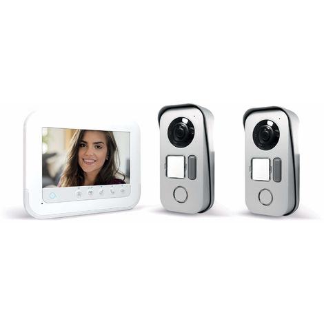 Visiophone 2 fils avec accès RFID - Ylva 3+ - Avidsen - 7 pouces + platine de rue supplémentaire 1 logement