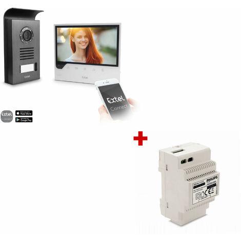 Visiophone 7 pouces connecté à votre smartphone - Connect - Extel - 1 visiophone Extel Connect + 1 Rail Din