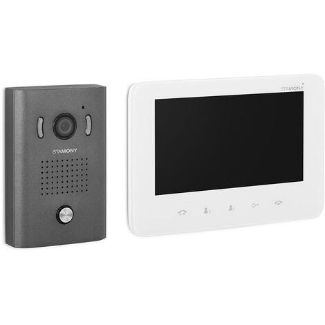 Visiophone Filaire Avec 1 Écran LCD Couleur 7 Pouces 4 Fils 1 Bouton 1 Platine