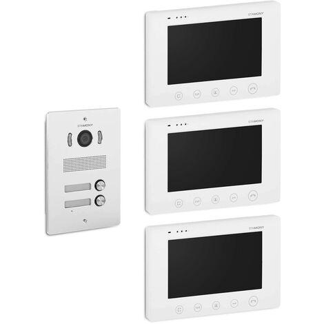 Visiophone Filaire Avec 3 Écrans LCD Couleur 7 Pouces 4 Fils 2 Boutons 1 Platine