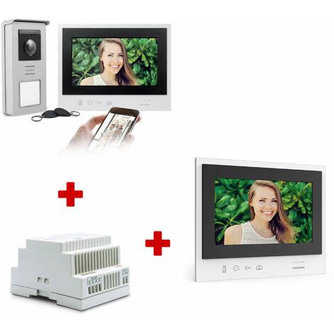 Visiophone filaire Connecté - Thomson Smart Connect - 1 visiophone Thomson Smart Connect + 1 écran supplémentaire + 1 Rail DIn pour tableau électrique