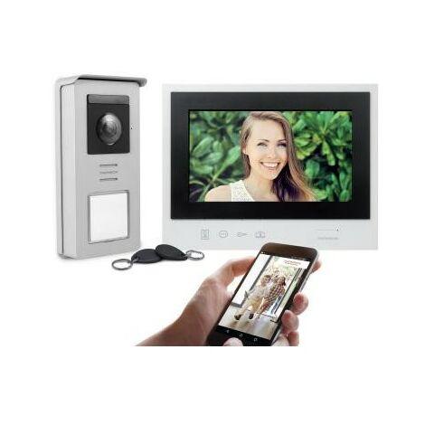 Visiophone Smart Connect à écran 7 - 2 fils - Connecté - avec badges RFID - Blanc