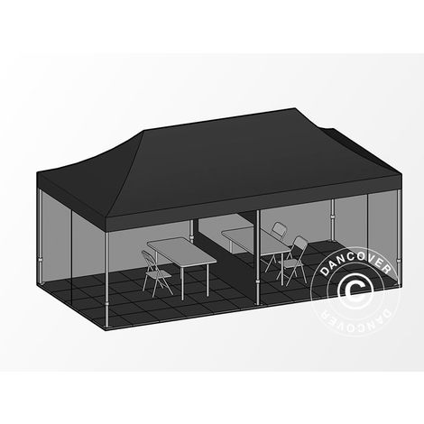 Visitor tent FleXtents Pop up canopy Folding tent PRO 3x6 m Black, incl. 6 sidewalls and 1 transparent partition wall