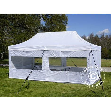 Visitor tent FleXtents Pop up canopy Folding tent PRO 3x6 m White, incl. 6 sidewalls and 1 transparent partition wall