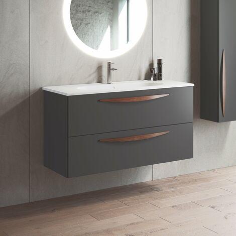 VISOBATH ARCO Mueble+Lavabo Suspendido 2 Cajones Ceniza Mate - Medida: 100 cms