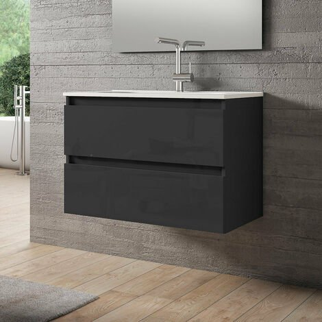 VISOBATH BOX Mueble+Lavabo Suspendido 2 Cajones Gris Brillo - Medida: 70 cms