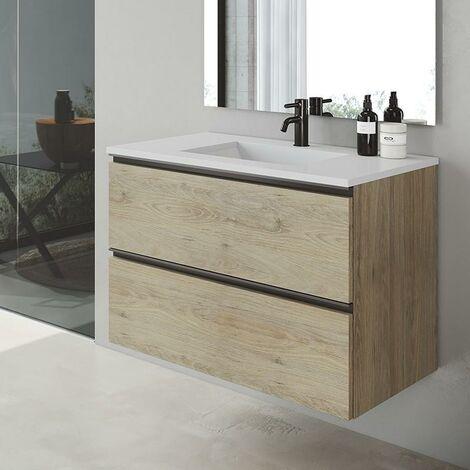 VISOBATH GRANADA Mueble+Lavabo Suspendido 2 Cajones Canela - Medida: 100 cms