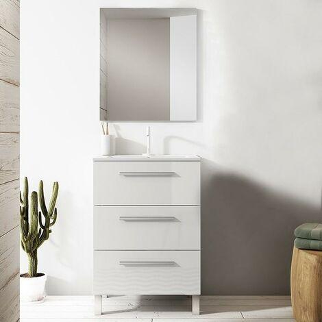 VISOBATH NOA Conjunto Mueble Completo 3 Cajones Blanco Brillo - Medida: 80 CMS