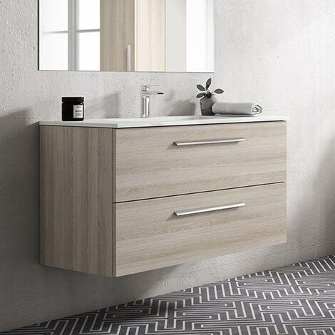 VISOBATH NOA Mueble+Lavabo Suspendido 2 Cajones Crudo - Medida: 100 cms