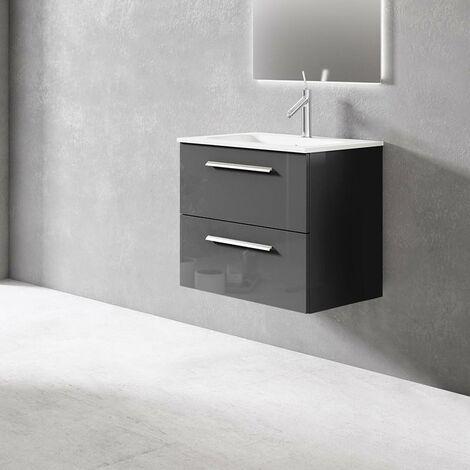 VISOBATH NOA Mueble+Lavabo Suspendido 2 Cajones Gris Brillo - Medida: 100 cms