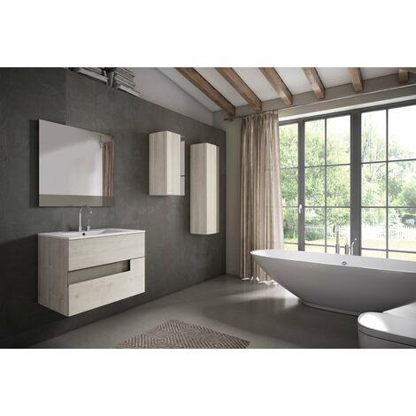 VISOBATH VISION Conjunto Mueble Completo Suspendido 2 Cajones Abedul/Tortora - Medida: 100 cms