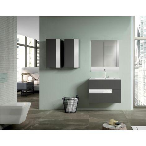 VISOBATH VISION Conjunto Mueble Completo Suspendido 2 Cajones Gris Brillo/Blanco - Medida: 60 cms