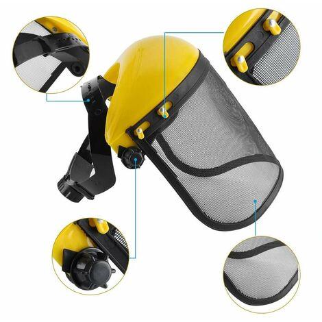 Visor de protección con malla, máscara, Casco de seguridad con visera de malla ajustable para motosierra Jardinería Desbrozadora