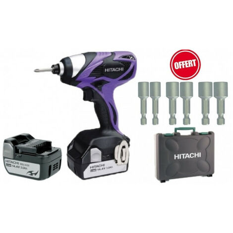 Visseuse à choc WH14DSAL 14,4V 2 batt 3Ah Limited Edition HITACHI + 6 douilles magnétiques 6 pans 8, 10, 13 mm
